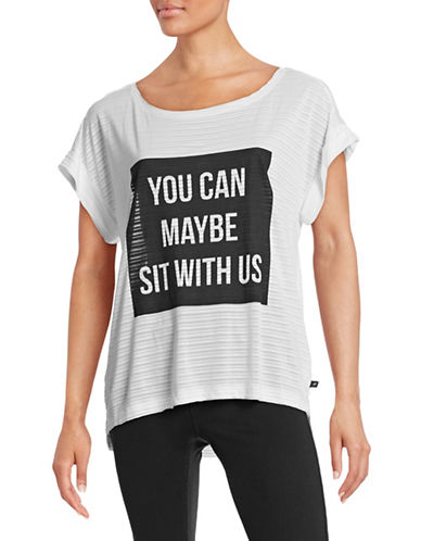 William Rast Sit with Us Graphic Raw-Edge Tee-WHITE-Large