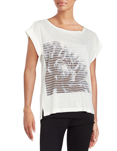 William Rast Striped Floral Tee-WHITE-X-Small