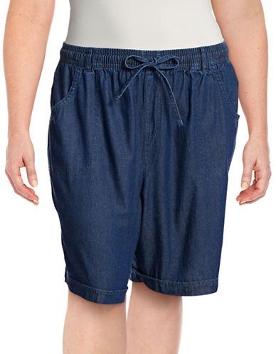 Karen Scott Plus Denim Shorts-BLUE-1X