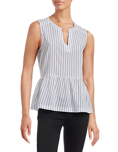 William Rast Haru Striped Peplum Shirt-BLUE-Large