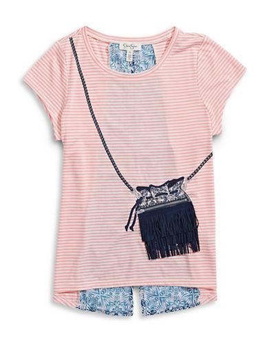 Jessica Simpson Crossbody-Design Striped Tee-PINK-Large 88521868_PINK_Large