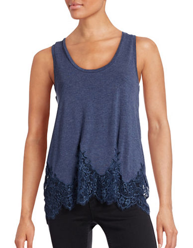 Jessica Simpson Bryanna Lace-Hem Tank Top-BLUE-X-Small 88543101_BLUE_X-Small