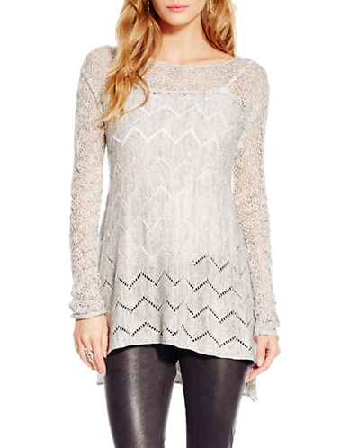 Jessica Simpson Darlanne Open Chevron Sweater-GREY-X-Large 88752553_GREY_X-Large