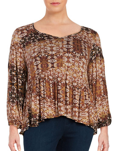 Jessica Simpson Plus Printed Peasant Top-BROWN-2X