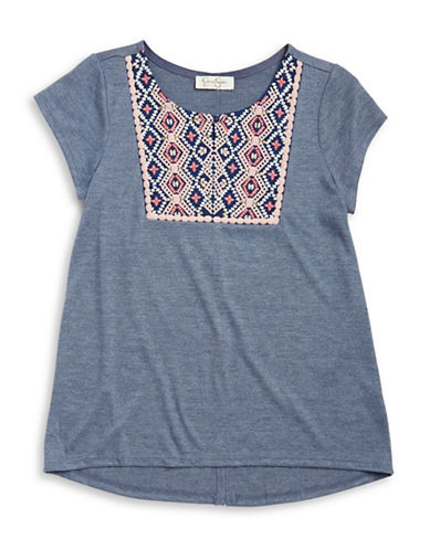 Jessica Simpson Embroidered Tee-BLUE-X-Large 88521877_BLUE_X-Large