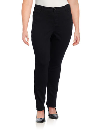 Style And Co. Plus Tummy Control Slim Leg Jeans-BLACK-14W