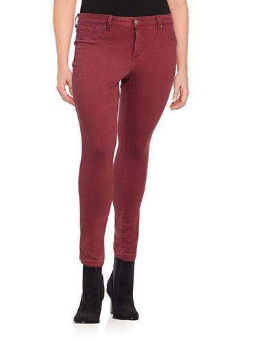 Jessica Simpson Plus Kiss Me Super Skinny Jeans-BURGANDY-20W