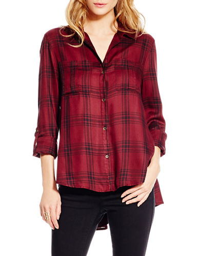 Jessica Simpson Dion Plaid Shirt-RED-Medium