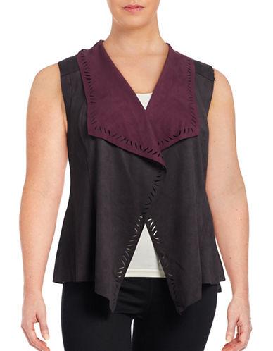 Jessica Simpson Plus Waterfall Cut-Out Vest-BLACK-2X