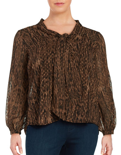 Jessica Simpson Plus Animal Print Tie-Neck Blouse-BROWN-2X