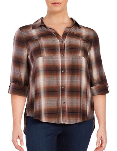 Jessica Simpson Plus Dion Plaid Flannel Shirt-RED-2X