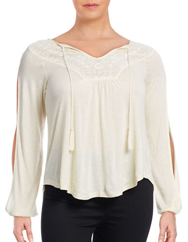 Jessica Simpson Plus Frida Crochet Split-Sleeve Top-WHITE-2X