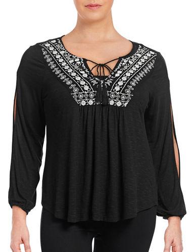 Jessica Simpson Plus Frida Crochet Split Sleeve Top-BLACK-3X