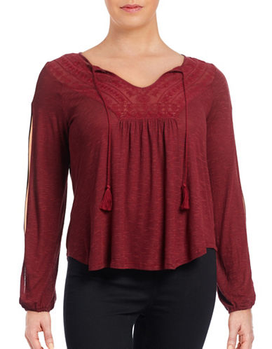 Jessica Simpson Plus Frida Crochet Split-Sleeve Top-BURNT ORANGE-2X