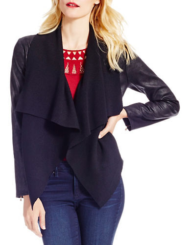 Jessica Simpson Cameron Drape Collar Jacket-BLACK-Large 88662076_BLACK_Large