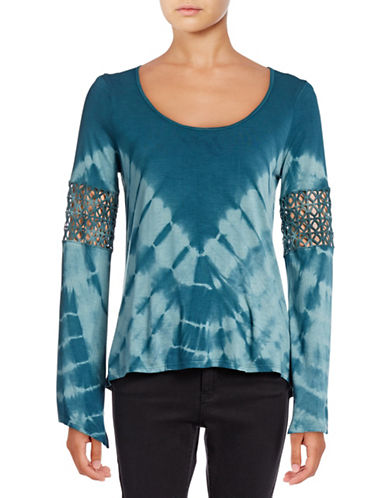 Jessica Simpson Laurine Crochet Tie-Dye Top-BLUE-X-Small