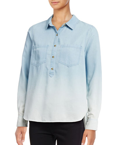 Jessica Simpson Poppy Denim Chambray Shirt-BLUE-X-Small