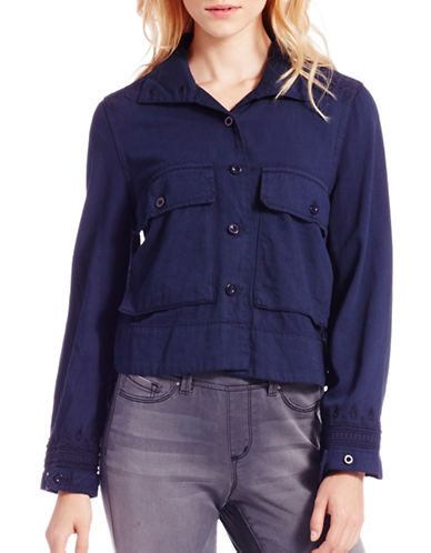 Jessica Simpson Greta Army Swing Shirt-BLUE-Small