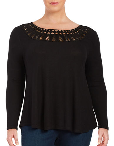 Jessica Simpson Plus Cutout Ribbed Long-Sleeve Hi-Lo Top-BLACK-1X 88764542_BLACK_1X