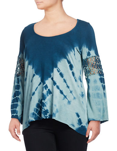 Jessica Simpson Plus Laurine Crochet Tie-Dye Top-BLUE-1X