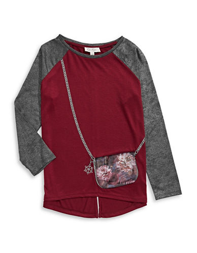 Jessica Simpson 3D Floral Handbag T-Shirt-RED-Large 88802305_RED_Large