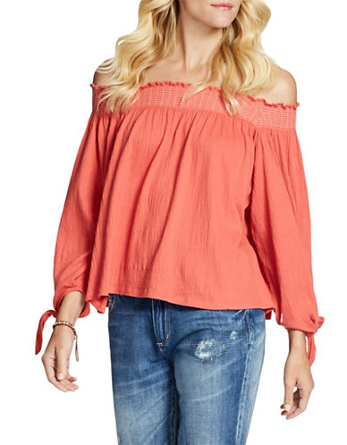 Jessica Simpson Marlena Off-the-Shoulder Top-RED-X-Small