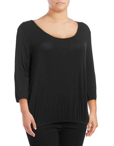 Jessica Simpson Plus Ramy Three-Quarter Sleeve Top-BLACK-2X