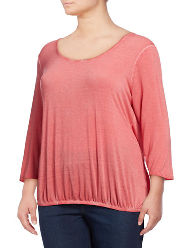 Jessica Simpson Plus Ramy Three-Quarter Sleeve Top-PINK-2X
