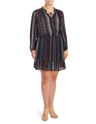 Jessica Simpson Plus Printed Peasant Dress-BLUE-2X