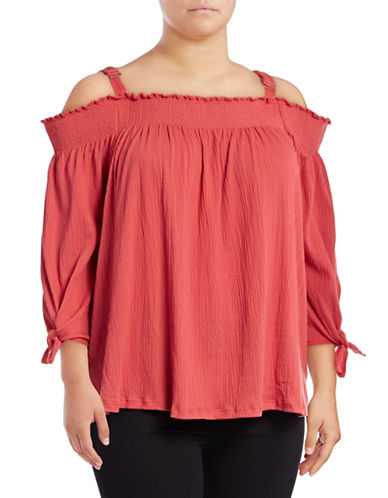 Jessica Simpson Plus Marlena Off-the-Shoulder Top-SPICED CORAL-1X