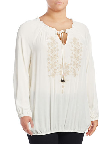 Jessica Simpson Plus Elizabella Peasant Top-WHITE-2X