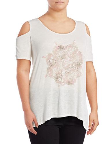 Jessica Simpson Plus ?Graphic-Print Cold-Shoulder Top-WHITE-3X
