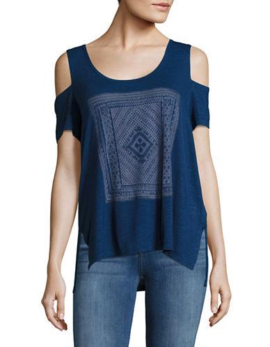 Jessica Simpson Lorani Cold-Shoulder Graphic Tee-BLUE-X-Small