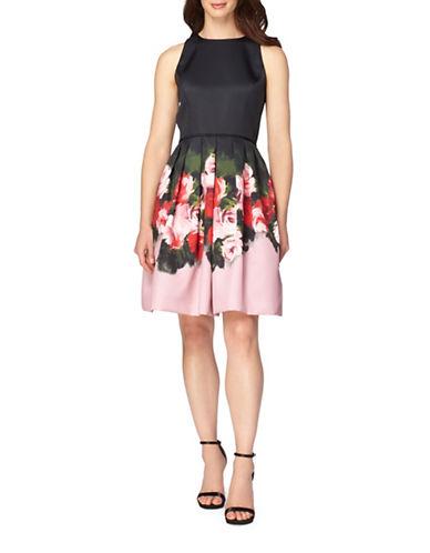 Tahari Mikado Floral Print Fit-And-Flare Dress-BLACK/ROSE-6