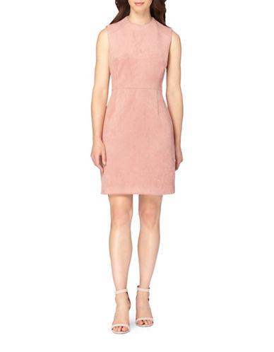 Tahari Faux Suede Sheath Dress-DESERT ROSE-6