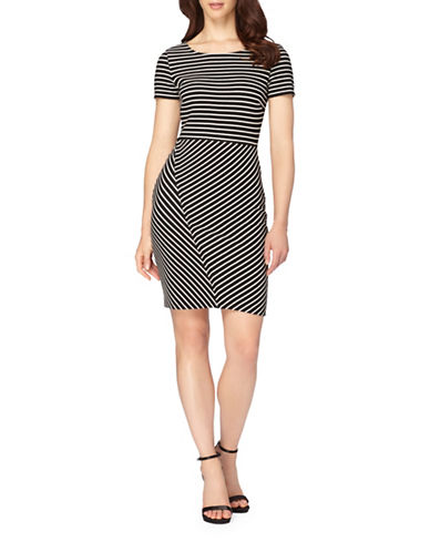 Tahari Tulip Skirt Knit Sheath Dress-BLACK/IVORY-12