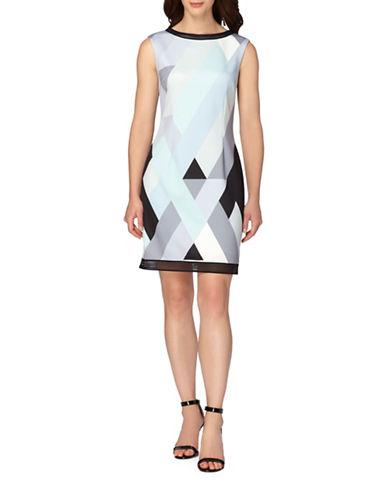 Tahari Mesh Trimmed Scuba Sheath Dress-MINT/SKY/BLACK-12