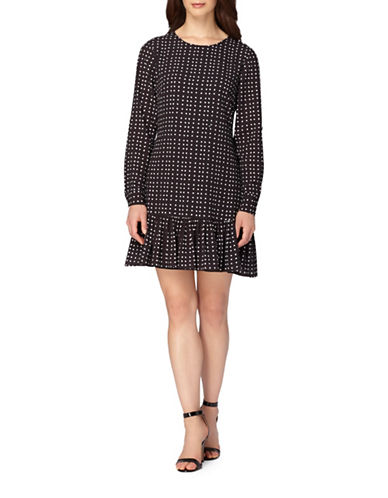 Tahari Dotted Flutter Hem Crepe Dress-BLACK/WHITE-10