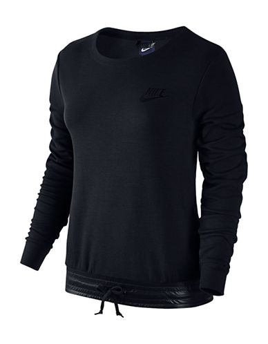 Nike Woven-Detailed Fleece Sweatshirt-BLACK-X-Small 88618613_BLACK_X-Small