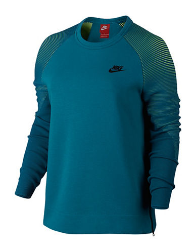 Nike Tech Fleece Crew Neck Sweatshirt-GREEN-Large 88707812_GREEN_Large