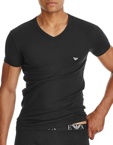 Emporio Armani Underwear Slim Fit V Neck T Shirt-BLACK-Small