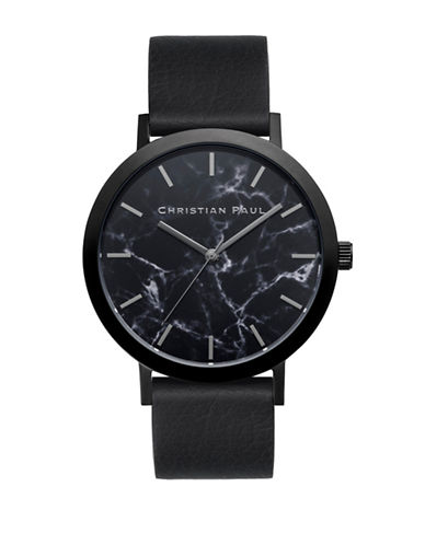 Christian Paul The Strand Marble Stainless Steel Analog Watch-BLACK-One Size