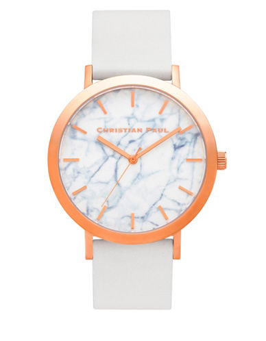 Christian Paul Whitehaven Marble Stainless Steel Analog Watch-WHITE-One Size