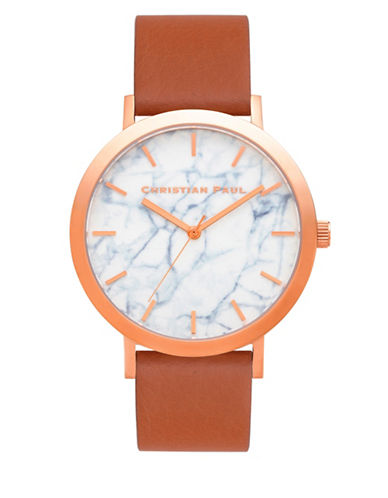 Christian Paul Avalon Marble Stainless Steel Analog Watch-TAN-One Size
