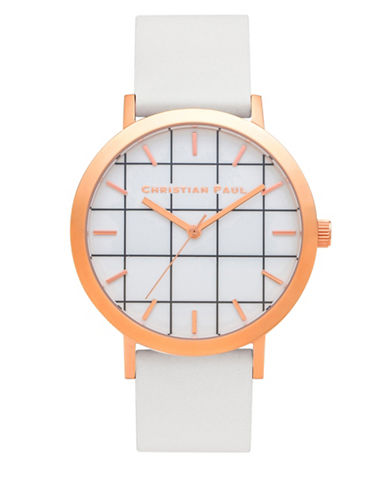 Christian Paul Whitehaven Grid Stainless Steel Analog Watch-WHITE-One Size
