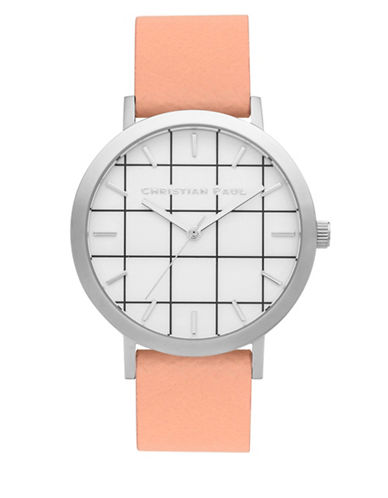 Christian Paul Airlie Grid Stainless Steel Analog Watch-NUDE-One Size