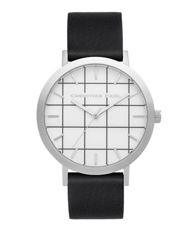 Christian Paul Elwood Grid Stainless Steel Analog Watch-BLACK-One Size