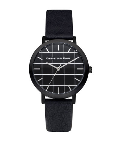 Christian Paul The Strand Grid Stainless Steel Analog Watch-BLACK-One Size