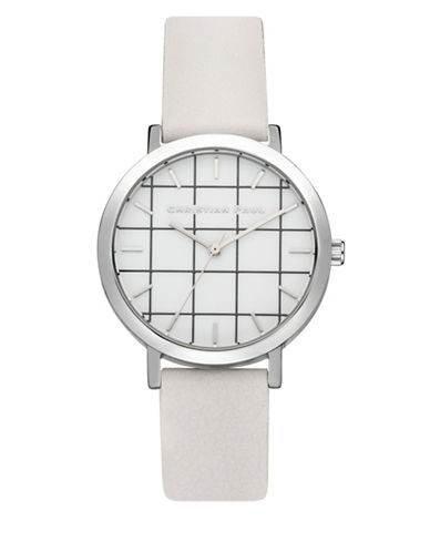Christian Paul Hyman Grid Stainless Steel Analog Watch-WHITE-One Size