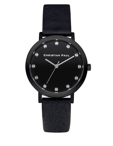 Christian Paul Unisex Luxe Collection Black Stainless Steel Leather Strap Watch-BLACK-One Size